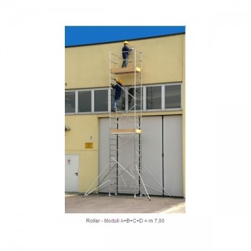 Trabattello alluminio Roller Plus S modulo A+B+C+D Altezza L. 7.70 mt.